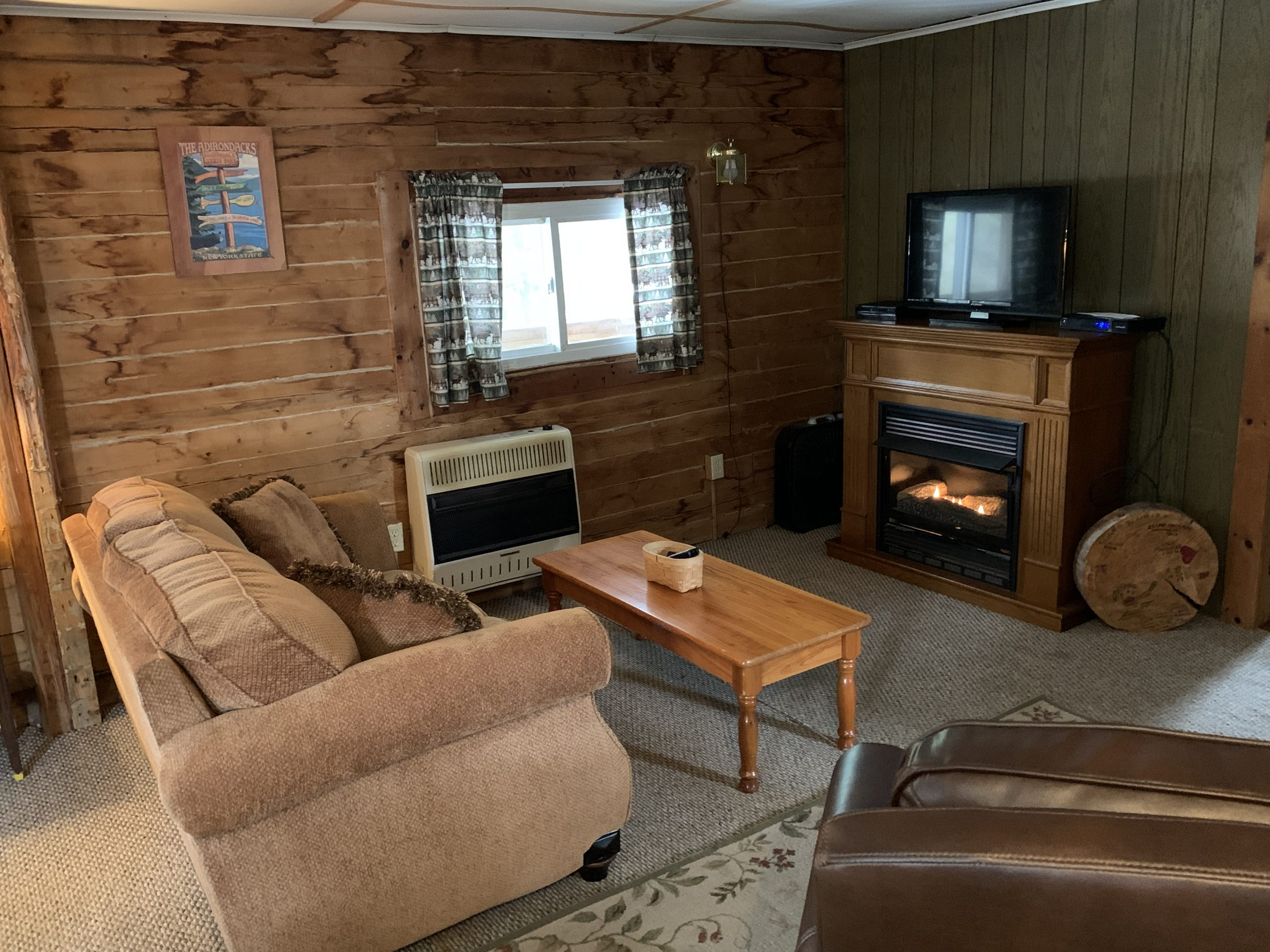 Cabin interior with fireplace