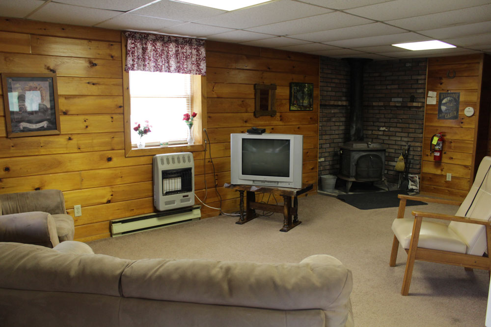 living room with TV and woodstove
