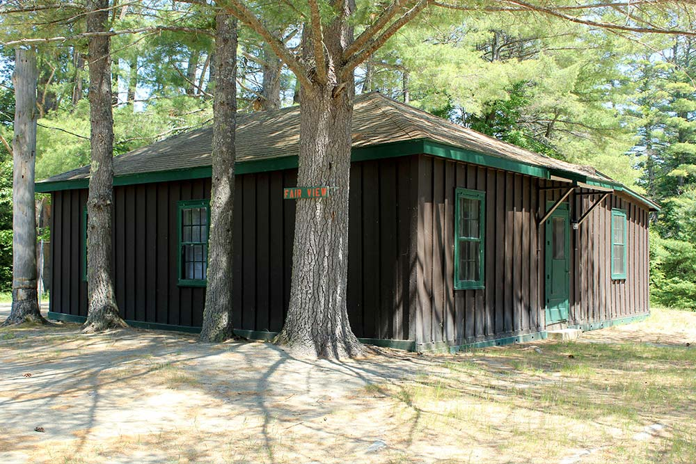 Board and Batten sides cabin among pine trees