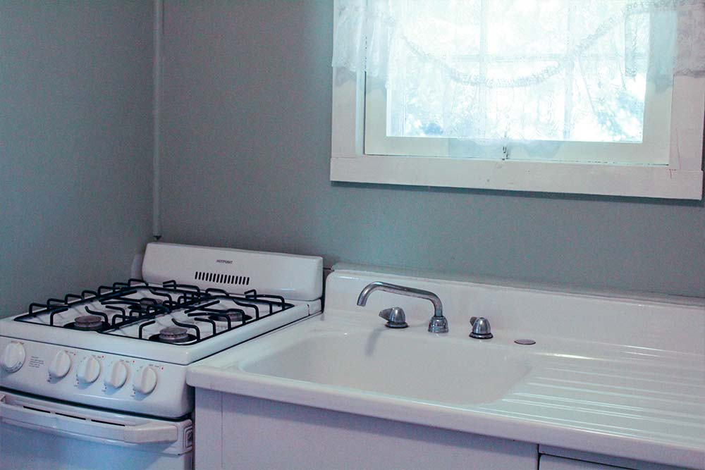 Kitchen with sink and stove