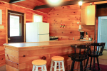 Kitchen with wood walls