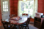 Dining table in room with door that leads outside